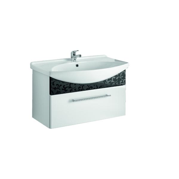 ORNAMENT 105 Черный рельефМебель для ванной<br>Тумба подвесная ORNAMENT под умывальник Лагуна 105  с 1-м ящиком, черный рельеф.<br>