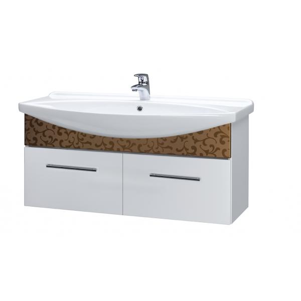 ORNAMENT 120 Белый рельефМебель для ванной<br>Тумба подвесная ORNAMENT под умывальник Лагуна 120  с 2-мя ящиками, белый рельеф.<br>