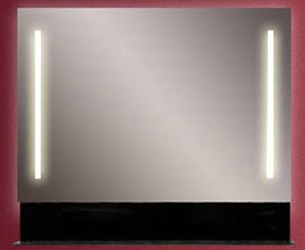 Альфа 90 белыйМебель для ванной<br>Альфа 90 зеркало с двумя встроенными светильниками и стеклянной полкой.<br>