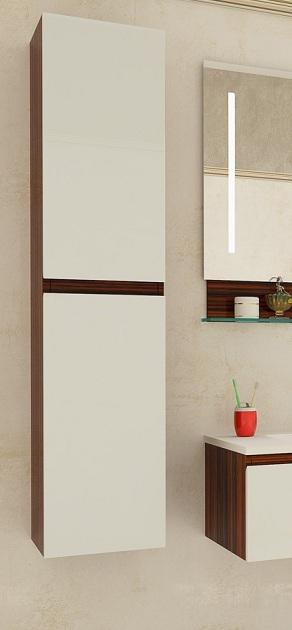 Альфа белыйМебель для ванной<br>Пенал Альфа левый. Пенал подвесной с двумя распашными дверцами.<br>