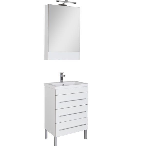 Верона 178253 БелаяМебель для ванной<br>Тумба Верона 178253 напольная с 3-мя ящиками.Раковина, зеркало и светильник приобретаются отдельно. Цвет белый.<br>