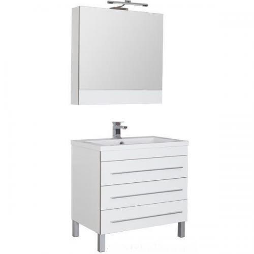 Верона 178470 БелаяМебель для ванной<br>Тумба Верона 178470 напольная с 3-мя ящиками. Цвет белый.<br>