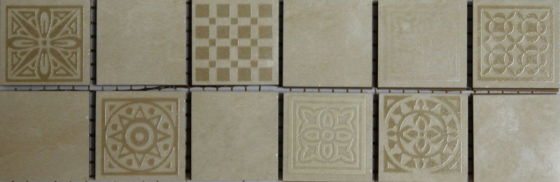 Керамический бордюр Belleza Атриум бежевый мозаичный 6,5х20 см