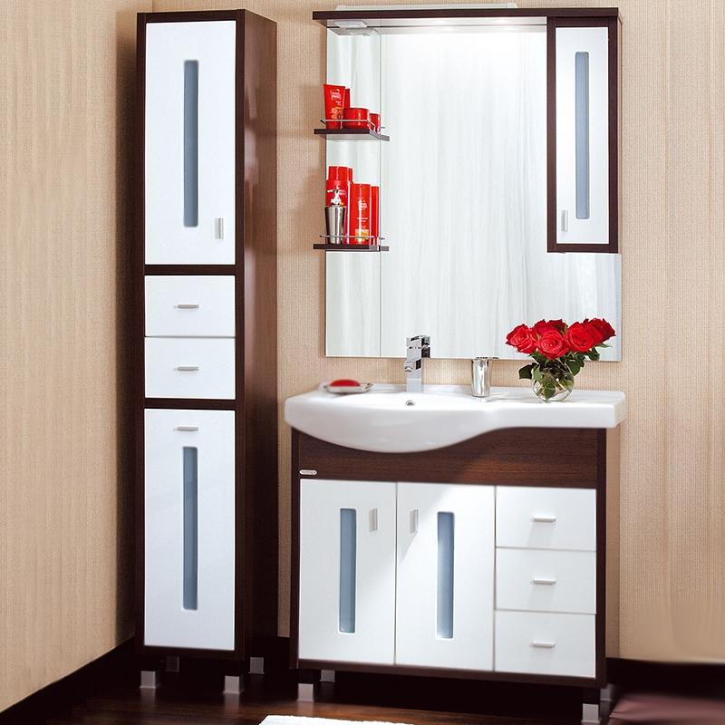 Бали 90 светлая лиственница/белый глянец, раковина слеваМебель для ванной<br>Тумба под раковину Бриклаер Бали 90 с двумя распашными дверцами слева и одной полкой за ними, с тремя выдвижными ящиками справа, с витражными вставками из матового стекла. Корпус выполнен из ЛДСП в декоре, а фасад – из ПВХ с трехслойным покрытием белой глянцевой эмалью. Элегантные хромированные ручки и ножки. Тумба проявляет устойчивость к влажному воздуху и длительное время сохраняет свой первоначальный внешний вид.<br>