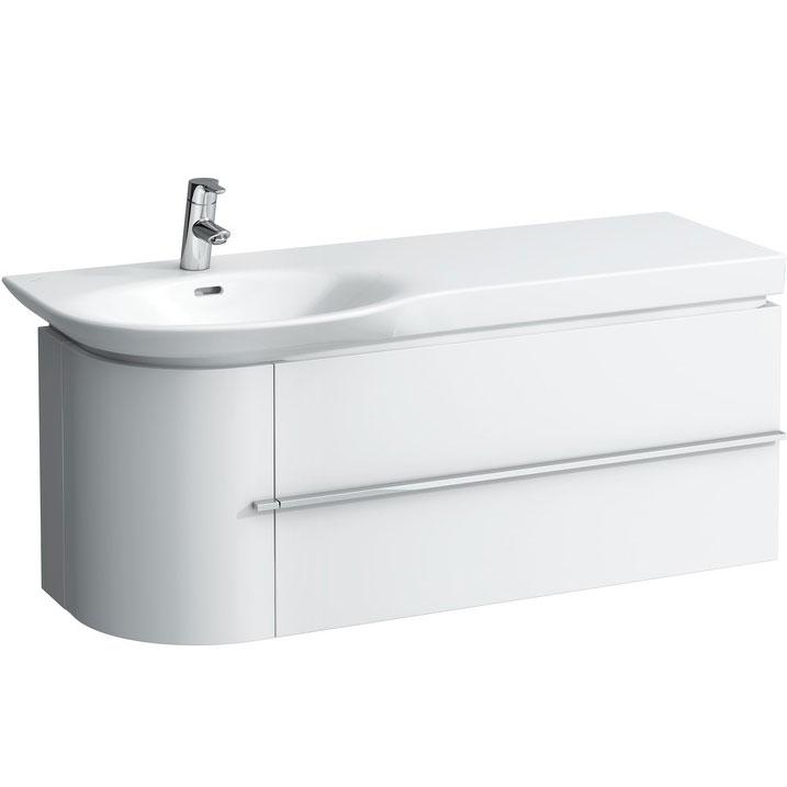Тумба под раковину Laufen Palace New 120 подвесная 2 ящика 1 дверца R Белая матовая мебель для ванной эстет dallas luxe r 120 напольный два ящика белый