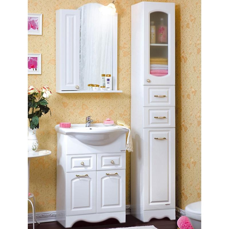 Анна 60 БелаяМебель для ванной<br><br>Напольная тумба под раковину Бриклаер Анна 60 с двумя распашными дверцами и с двумя выдвижными ящиками. Для использования в ванных комнатах с повышенной влажностью.<br><br><br>Гармония, домашний уют, тепло и функциональность.<br>Белоснежный рельефный фасад.<br>Изысканная золотисто-фарфоровая фурнитура.<br>Материал корпуса: ЛДСП белый глянец.<br>Материал фасада: МДФ.<br>Повышеная влагостойкость.<br>Необходимо бережное обращение, защита от заливов и протечек воды.<br><br><br>Отделения:<br>верхнее: два выдвижных ящика.<br>нижнее: две распашные дверцы, одна полка.<br>Металлические направляющие для ящиков.<br><br><br>В комплекте поставки:<br>тумба.<br><br>