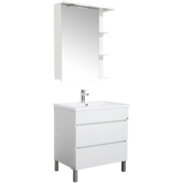 Лаконика 85 белыйМебель для ванной<br>Мебель для ванной Акванет Лаконика 85, артикул 157549. В стоимость входит тумба. Цвет: белый. Раковина, зеркало и пенал приобретаются отдельно.<br>
