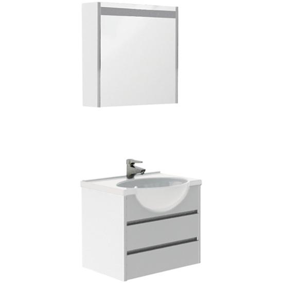 Лайн 60 белыйМебель для ванной<br>Тумба под раковину Акванет Лайн 60, артикул 164933. В комплект поставки входит тумба. Цвет: белый.<br>