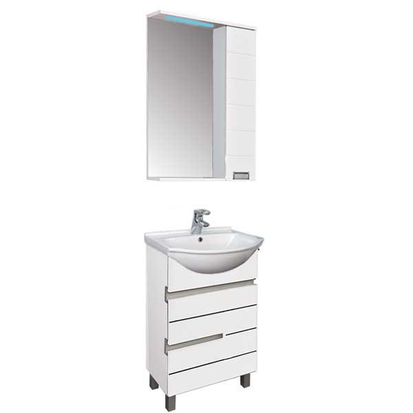 Доминика 55 белый (фасад черный)Мебель для ванной<br>Мебель для ванной Акванет Доминика 55, артикул 170377. В стоимость входит тумба. Цвет: белый (фасад черный). Раковина, зеркало и пенал приобретаются отдельно.<br>