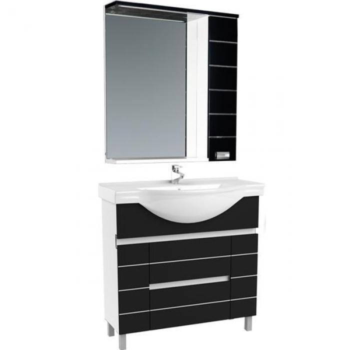 Доминика 100 белый (фасад черный)Мебель для ванной<br>Тумба под раковину Акванет Доминика 100, артикул 171689. В комплект поставки входит тумба. Цвет: белый (фасад черный).<br>