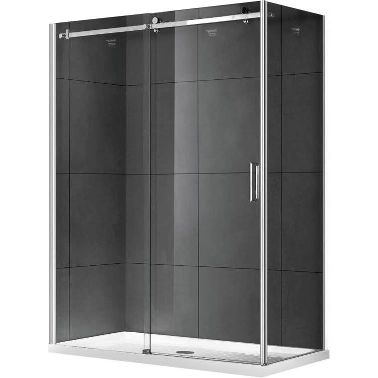 Душевой уголок Gemy Modern Gent 150х80 прямоугольный L профиль Хром стекло прозрачное