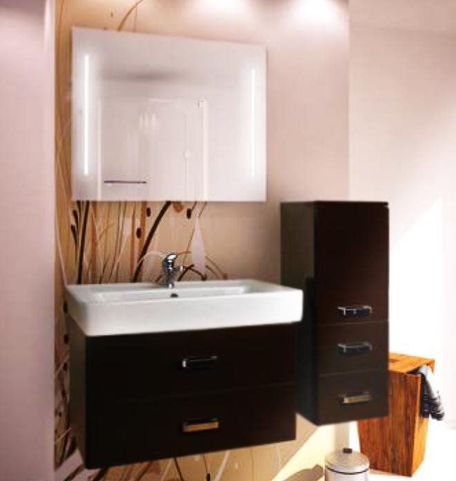 Америна 80 Темно-коричневая глянцеваяМебель для ванной<br>Тумба под раковину Акватон Америна 80 1A137701AM430.<br>Лаконичная и стильная модель с двумя выдвижными ящиками.<br>Особенности:<br>Нижний ящик - широкий и вместительный. Он предназначен для хранения крупных предметов. В верхнем ящике устроена удобная организация пространства, позволяющая хранить мелкие вещи.<br>Вместительные ящики, рассчитанные на нагрузку до 25 кг.<br>Направляющие нижнего крепежа обеспечивают жесткое и надежное крепление ящиков.<br>Плавный ход ящиков со встроенными доводчиками. <br>Организовано нижнее подключение труб водоснабжения и канализации. <br>Материал корпуса: ДСП с ламинированным покрытием. Этот материал обладает повышенной влагостойкостью и сопротивляемостью износу. <br>Материал фасандых деталей: МДФ с пятислойной покраской.<br>