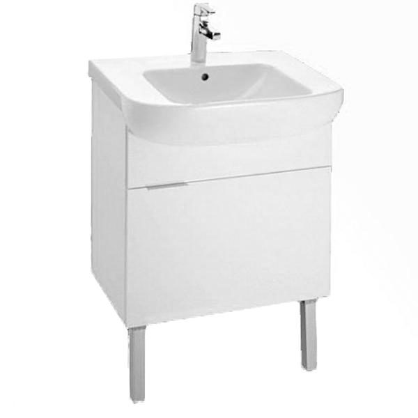 Odeon Up 60 Белый лакМебель для ванной<br>Напольная тумба под раковину Jacob Delafon Odeon Up 60 EB880-J5 с одним выдвижным ящиком.<br>Универсальный дизайн тумбы дополнит интерьер большинства ванных комнат в современном стиле. Простые и изящные линии, функциональность и удобство модели придутся по душе всей семье.<br>Изготовлена из МДФ/ЛДСП и покрыта глянцевым полиуретановым лаком высокого качества. Дополнительное покрытие: меламин - декоративная пленка, защищающая мебель от воды и механических повреждений. Материалы устойчивы к выцветанию и предназначены для использования в помещениях с повышенной влажностью.<br>Выдвижной ящик со встроенными доводчиками.<br>Мягкий и плавный ход ящика с функцией Soft Close. Ручки с покрытием цвета хром.<br>Цвет: белый.<br>Монтаж: на ножках.<br>В комплекте поставки: тумба под раковину, комплект ножек.<br>