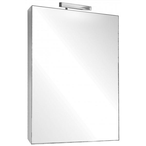 Odeon Up 53 БелыйМебель для ванной<br>Зеркальный шкаф Jacob Delafon Odeon Up 53 EB879-J5 с галогеновой подсветкой.<br>Универсальный дизайн зеркала дополнит интерьер большинства ванных комнат в современном стиле. Простые и изящные линии, функциональность и удобство модели придутся по душе всей семье.<br>Изготовлен из МДФ/ЛДСП и покрыт глянцевым полиуретановым лаком высокого качества. Дополнительное покрытие: меламин - декоративная пленка, защищающая мебель от воды и механических повреждений. Материалы устойчивы к выцветанию и предназначены для использования в помещениях с повышенной влажностью.<br>Распашная дверца со встроенными доводчиками. Две вкладные стеклянные полочки.<br>Галогеновый светильник с выключателем, розетка.<br>Цвет: белый.<br>Монтаж: подвесной.<br>В комплекте поставки: зеркальный шкаф.<br>