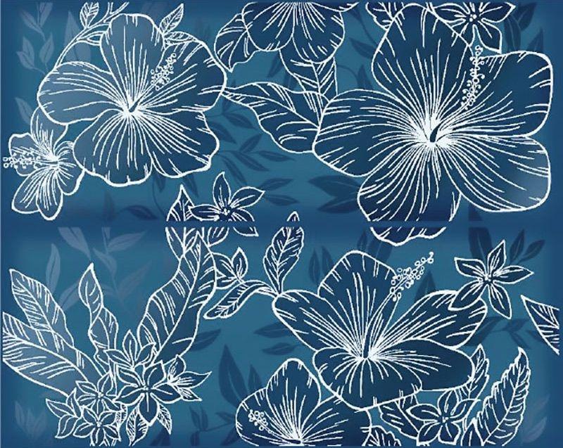 Керамическое панно Керлайф Elissa Flore Blu 40,2х50,5 см