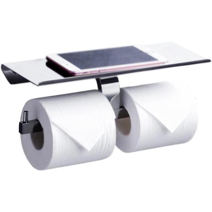 Держатель туалетной бумаги Rush Edge ED77142B двойной Хром держатель туалетной бумаги rush edge двойной с полкой для телефона хром ed77142a