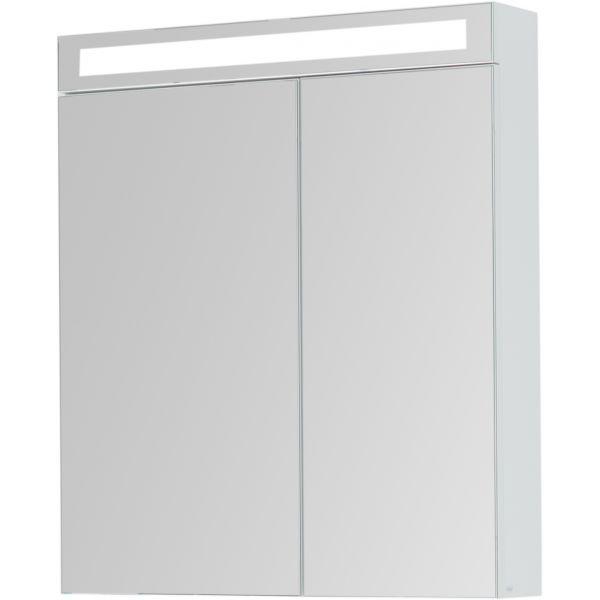 Зеркальный шкаф Dreja Max 70 с LED освещением Белый глянец фото