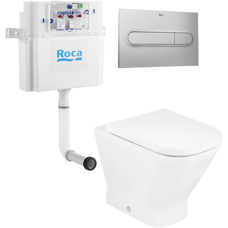 Комплект унитаза Roca The Gap 893109000 с бачком In Wall и кнопкой смыва PL1 сиденьем Микролифт клавишей Хром