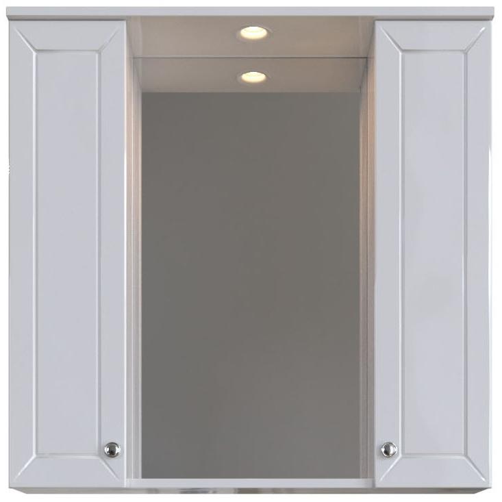 Зеркальный шкаф San Star Бриз 80 с подсветкой Белый зеркальный шкаф san star селена 80 с подсветкой белый