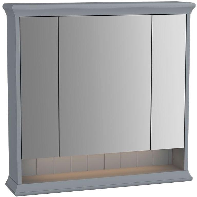 Зеркальный шкаф Vitra Valarte 80 с подсветкой Серый матовый зеркальный шкаф vitra metropole 100 с подсветкой сливовое дерево