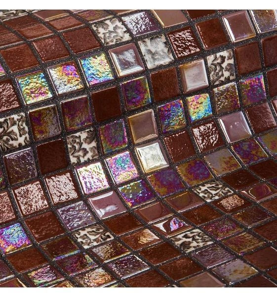 Фото - Стеклянная мозаика Ezarri Topping Choco bits 31,3х49,5 см дверь для сауны стеклянная doorwood dw01028 восточная арка прозрачная 800х2000 мм