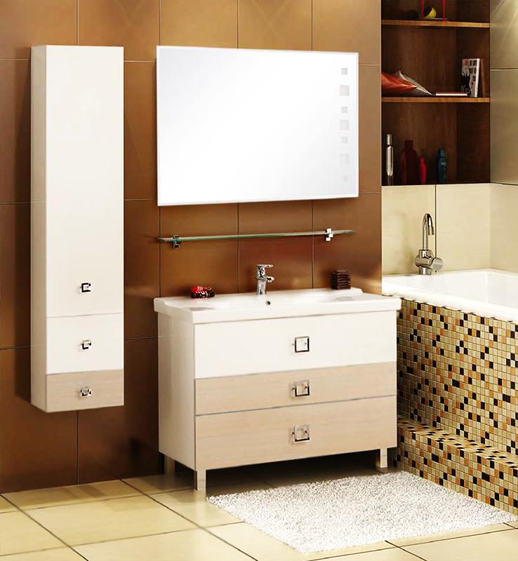 Стамбул 105 белая/лиственницаМебель для ванной<br>Тумба под раковину Акватон Стамбул 105 1A127301ST580 на четырех ножках, с тремя выдвижными ящиками на направляющих с системой плавного закрывания. Два глубоких ящика и один узкий, посередине, позволят удобно расположить необходимые предметы. Корпус и фасад выполнены из ВДСП, с ламинированным покрытием, обладает повышенной влагостойкостью и сопротивляемостью износу, не выделяет вредных испарений, хорошо выдерживает воздействие бытовых химических средств, за исключением абразивных материалов и едких веществ, и жидкостей.<br>