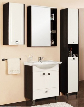 Крит 65 Н белый/венгеМебель для ванной<br>Тумба под раковину Акватон Крит 65 Н 1A145701KT500 на двух ножках, с двумя распашными дверцами и одним выдвижным ящиком. Фасад украшен узорами в стиле древнегреческого орнамента. Корпус выполнен из ДСП с ламинированным покрытием, обладает повышенной влагостойкостью и сопротивляемостью износу, не выделяет вредных испарений, хорошо выдерживает воздействие бытовых химических средств, за исключением абразивных материалов и едких веществ, и жидкостей. Фасадные детали изготавливаются из МДФ с пятислойной покраской.<br>