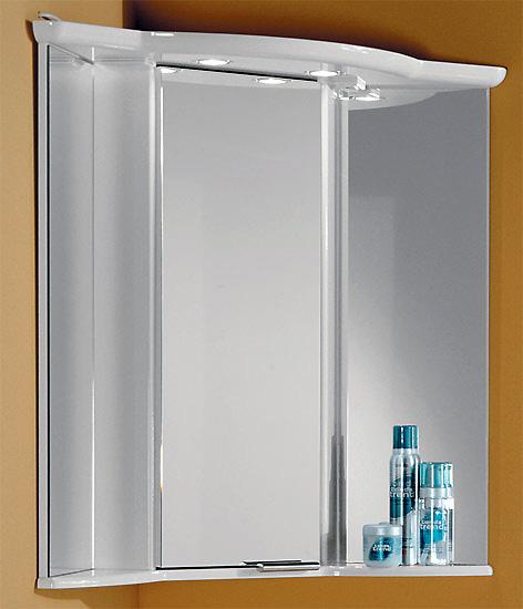 Альтаир 62 БелыйМебель для ванной<br>Акватон 1A042702AR010 Альтаир 62 угловой зеркальный шкаф с подсветкой на верхней панели<br>