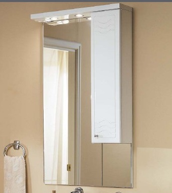 Домус 65 Белое правоеМебель для ванной<br>Акватон 1A008202DO01R Домус 65 зеркало-шкаф правый<br>