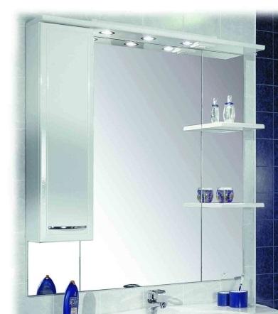 Эмили 105 Белый левыйМебель для ванной<br>Акватон 1A008602EM01L Эмили 105 шкаф-зеркало левый<br>
