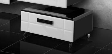 Деко Фасад белый, корпус черныйМебель для ванной<br>Подкатная тумба Edelform Деко. Размер: 760х500х350 мм.<br>
