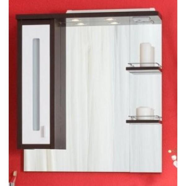 Бали 75 Корпус венге, фасад белый левыйМебель для ванной<br>Зеркало со шкафчиком и полочками Бали 75. Размер: 754х855х200 мм.<br>