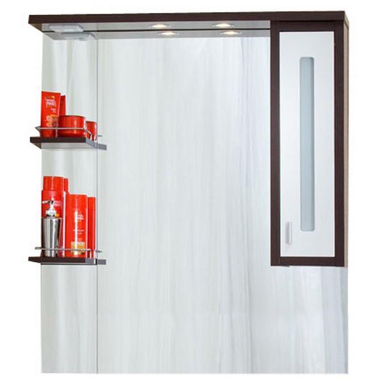 Бали 90 Корпус венге, фасад белый правоеМебель для ванной<br>Зеркало со шкафчиком и полочками. Размер:910х1030х200 мм.<br>