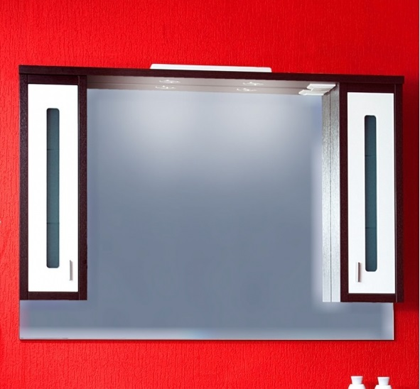 Бали 120 Корпус венге, фасад белыйМебель для ванной<br>Зеркало Бали 120 со шкафчиками с двух сторон. Размер:1055х904х200 мм<br>