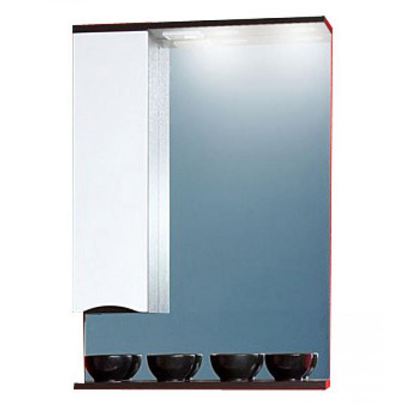 Токио 60 Фасад белый, корпус венге правоеМебель для ванной<br>Зеркало со шкафчиком и нижней полочкой Токио 60. Размер:600х830х190 мм<br>