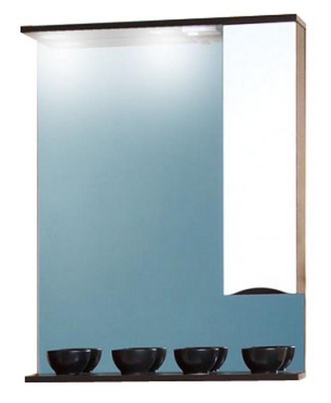 Токио 70 Фасад белый, корпус венге правоеМебель для ванной<br>Зеркало со шкафчиком и нижней полочкой Токио 70. Размер:700х830х190 мм.<br>