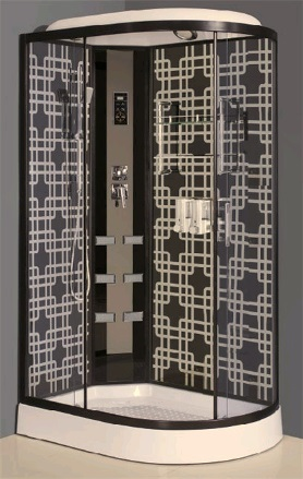 AJ-4012  С гидромассажем праваяДушевые кабины<br>Душевая кабина Aqua Joy AJ-4012 с тонированными стеклами и цветными стеклянными задними стенками. В комплект входят: ручной душ, держатель для лейки, верхний душ, стеклянная полка с хромированным ограничителем, компьютерная панель, гидромассаж спины, верхняя галогеновая подсветка, вентилятор, динамик, радио, сифон с хромированной заглушкой. Высота поддона - 150мм.<br>