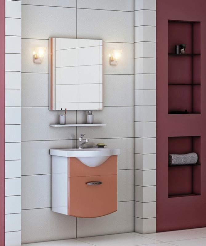 Forza 56 корпус белый, фасад ral 3012Мебель для ванной<br>Подвесная тумба с выдвижным ящиком и раковиной в комплекте Valente Forza 560 91. Возможный цвет фасада: ral 3012; 4004; mob 102; 152. Цена указана за тумбу с раковиной.<br>