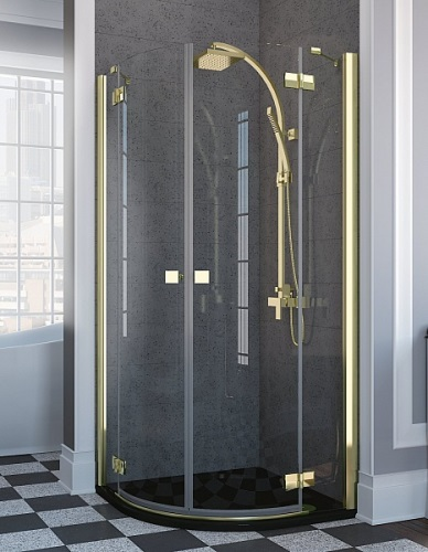 Almatea Gold PDD 90 с коричневым стекломДушевые ограждения<br>Полукруглое душевое ограждение Radaway Almatea Gold PDD 90 арт.30502-09-08N с распашными дверями. Возможны различные варианты цвета стекла : прозрачный, графит, коричневое. Толщина стекла 6мм, профиль золотой. Цена указана за душевое ограждение без поддона, поддоны заказываются отдельно.<br>