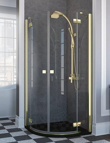Almatea Gold PDD/E 100х80 с прозрачным стекломДушевые ограждения<br>Полукруглое ассиметричное душевое ограждение Radaway Almatea 100х80 арт.30542-09-01N с распашными дверями. Толщина стекла 6мм, профиль золотой.<br>