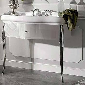 Retro 7363 К7 белая глянцеваяМебель для ванной<br>Тумба под раковину с ящиком Kerasan Retro 7463К7. Алюминиевые ноги хром, ручки хром с кристаллом. Цвет белый глянцевый.<br>