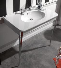 Retro 1049 К5 черная глянцеваяМебель для ванной<br>Консоль Kerasan Retro 1049К5 черная глянцевая  в комплекте с ногами из алюминия. Цвет золото.<br>