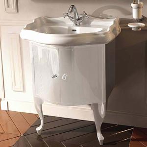 Retro 7361 комбинированная К7 хромМебель для ванной<br>Мебель закрытая белая глянцевая Kerasan Retro 7361К7 в комплекте с ногами серебро и ручкой с кристаллом<br>