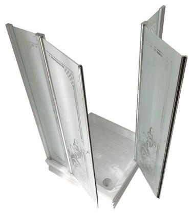 Retro 9148 N0 профиль хром стекло прозрачное рисунок матовыйДушевые ограждения<br>Душевой уголок Kerasan Retro 9148 N0. Профиль  хром, стекло прозрачное, рисунок матовый.<br>