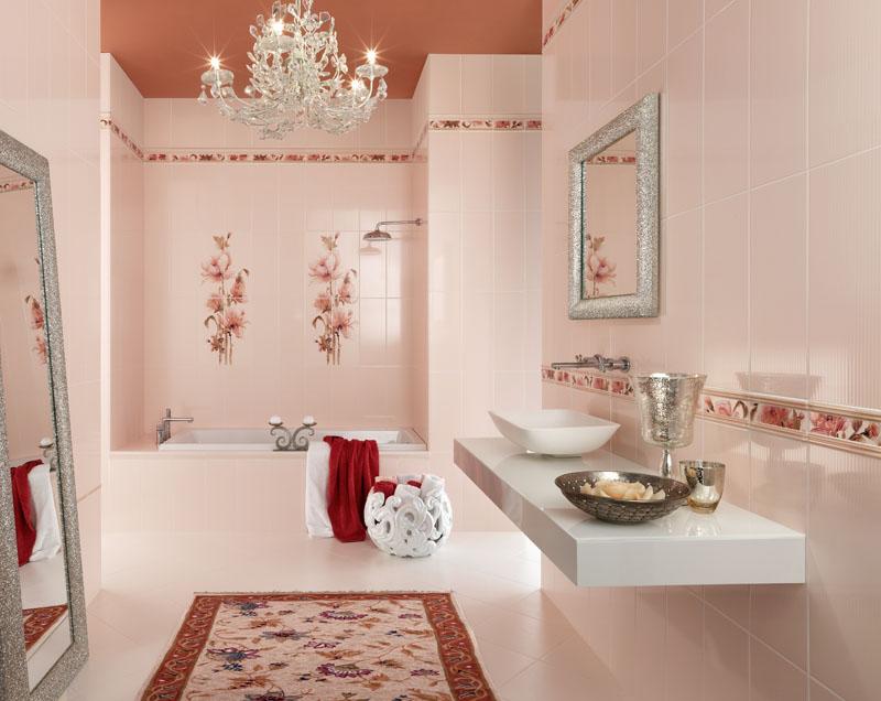 Кафельная плитка для ванной с цветами