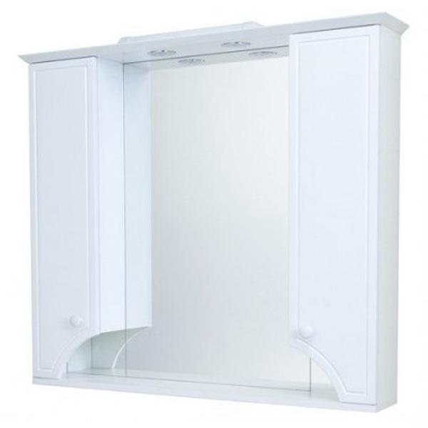 Зеркало со шкафом Акватон Элен 95 с подсветкой 1A218602EN010 Белое зеркало со шкафом bellezza джулия 95 с подсветкой белое