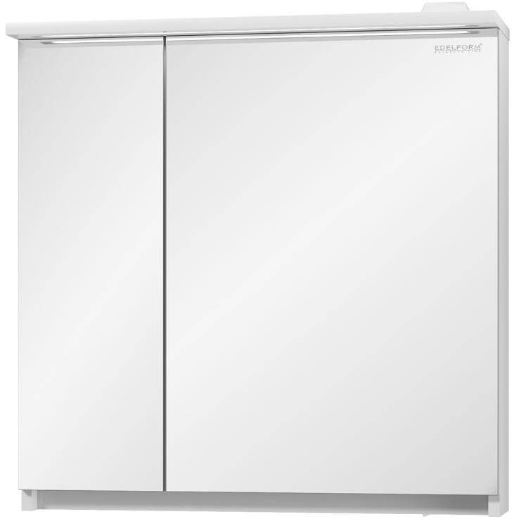 Зеркальный шкаф Edelform Amata 80 с подсветкой Белый глянец зеркальный шкаф edelform carino 100 с подсветкой черный глянец