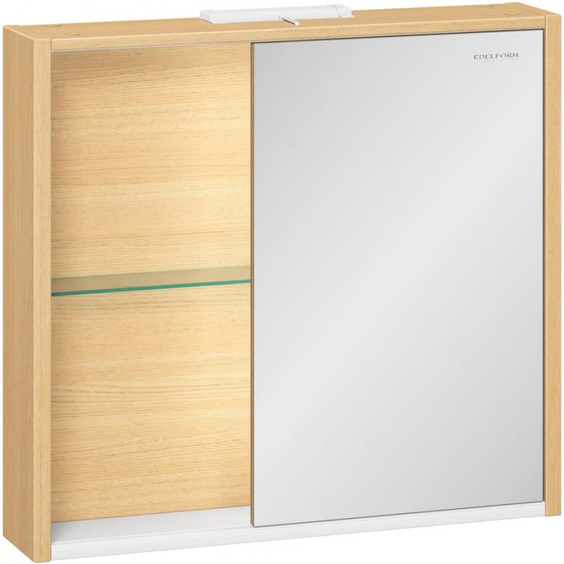 Зеркальный шкаф Edelform Unica 80 с подсветкой Белый глянец дуб Гальяно зеркальный шкаф edelform belle 80 с подсветкой белый глянец