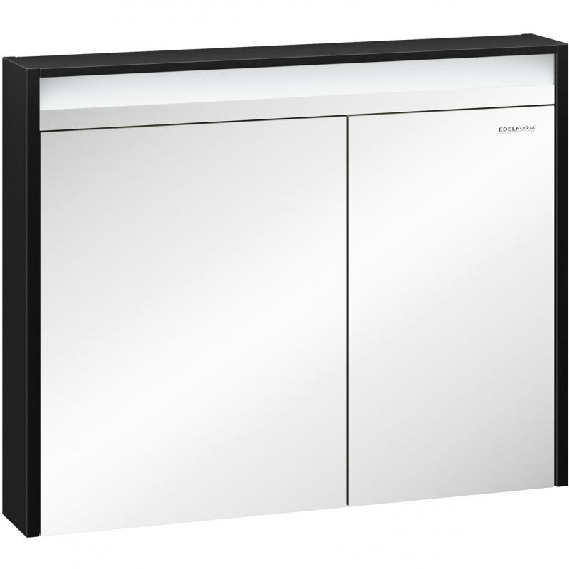 Зеркальный шкаф Edelform Carino 100 с подсветкой Черный глянец зеркальный шкаф edelform belle 80 с подсветкой белый глянец