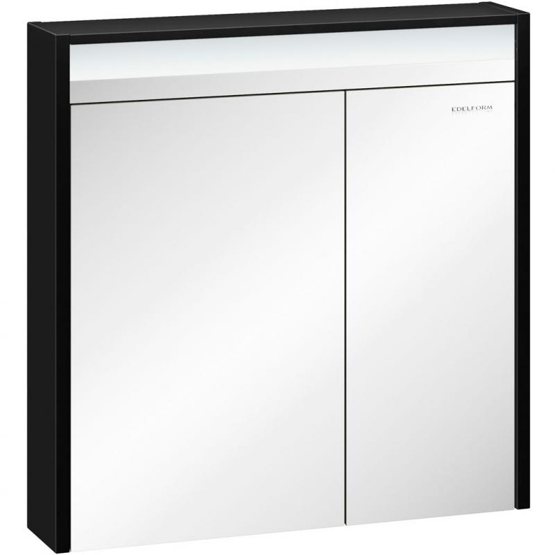 Зеркальный шкаф Edelform Carino 80 с подсветкой Черный глянец зеркальный шкаф edelform carino 100 с подсветкой черный глянец